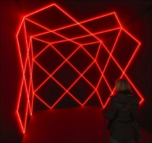 François Morellet, vue de l'exposition «Réinstallations»,Pierre Migeat